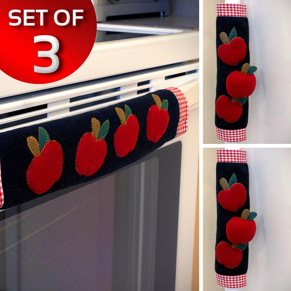 Set Of 3 Kitchen Appliance Handle Covers W Apple Design Ebay
