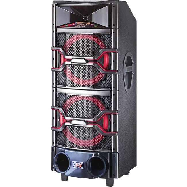 qfx sbx 921200 dual dj mixer speaker w disco lights ebay. Black Bedroom Furniture Sets. Home Design Ideas
