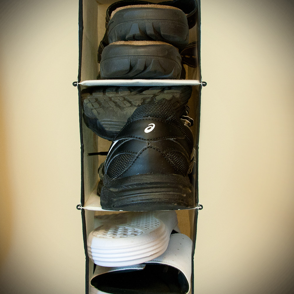 stylishly stored ten shelf canvas hanging shoe organizer